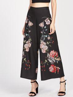 Pants by BORNTOWEAR. Botanical Print Zip Side Wide Leg Pants