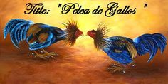 "Items similar to Cuban Oil Paintings on Canvas ""Rooster fighting ..."