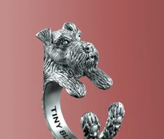 This unique Miniature Schnauzer Ring was created and designed by Steph Alexis.    This amazing little Miniature Schnauzer ring is made of 925 sterling
