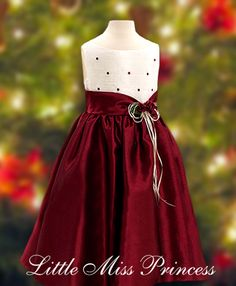 Ivory Wine Burgundy Polka Dots Girls Christmas Holiday Party Dress ...
