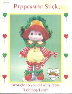 Peppermint Stick Doll Crocheted RompersLollipop Lane1984 Vintage Dumplin Designs #DumplinDesigns