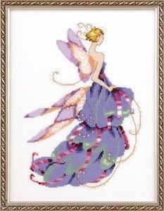 "NC165 - Lady Slipper-Spring Garden Party - Pixie Couture Collection - Nora Corbett Designs (Mirabilia Designer) Uses / Description: 862101 Antique White Jobelan 32ct, 429101 Antique White Jobelan 28ct, 65110 French Lace Linen 32ct, 355110 French Lace Aida 16ct  Beads: (#of pkgs) 02003 (1), 18819 (1)  Kreinik: 150V #4 Braid (B369 or B1369)  **Approximate size 6.7""w x 9.5""h"