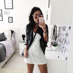 white dress, leather jacket, comfy, day-night look, vestido branco, jaqueta,