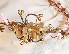 diadema peluca, color de rosa y oro, oro boda tocado de novia, vid de pelo nupcial, diadema corona de flores, pedazo del pelo novia, perla de la boda