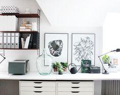 oh what a room: mein Home Office mit großem von-Wand-zu-Wand-Schreibtisch, Ikea ALEX Schränken und String Regal *** my home office with extra large desk, Ikea ALEX storage and String shelf