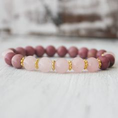Rose Quartz Rhodonite Energy Healing Bracelet Yoga von DazzleDream