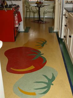 PIN 3   Fun and vibrant use of linoleum in this kitchen.