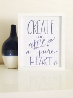 Printable Bible Verse Create in Me a Pure Heart Hand Written Calligraphy Instant Downloadable Print