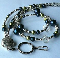 Navy Blue Lanyard, Id Badge Holder, Id Necklace