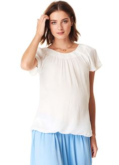 Esprit - Off Shoulder Blouse in White Maternity Wear, Maternity Tops, Off Shoulder Blouse, Off The Shoulder, Summer Trends, Smocking, Short Sleeves, Tunic Tops, How To Wear