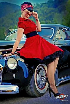 Red Rockabilly dress with black petticoat. LOVE this dress!
