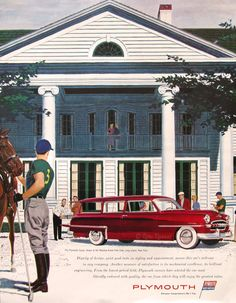 1953 Plymouth Savoy Ad - Red Station Wagon - Meadow Brook Polo Club, Long Island, NY - Polo Pony Horse - 1950s Classic Car Advertising Print