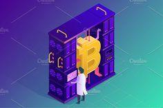 Bitcoin and Ethereum farm concept by Antikwar on @creativemarket