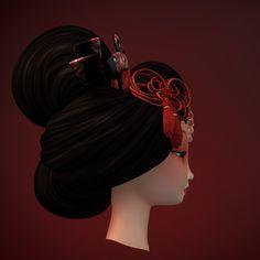 geisha head 3d max
