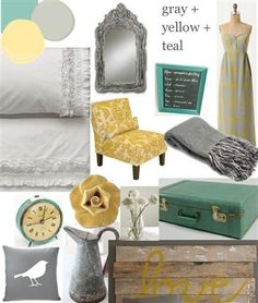 Love teal, yellow & grey!! loving this pallet for my living room.
