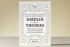 Fiesta Folk Art Letterpress Wedding Invitations