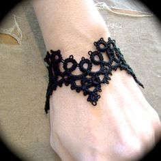 Tatted Lace Cuff Bracelet - Cathedral. $23.00, via Etsy.