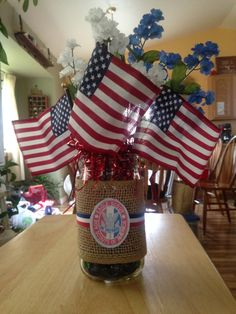 Table decor for son's Eagle Court of Honor.