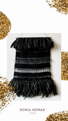 Textured woven wall hanging centered on a copper dowel and finished with a cord for hanging. I used black rafia to make fringe and black glass beading to add little sparkle to the weaving. This woven wall art will become pure highlight of your sweet home or work studio!