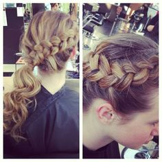 braided ponytail- I would wrap where the ponytail is in a messy bunn and top with a flower to make it casually sophisticated
