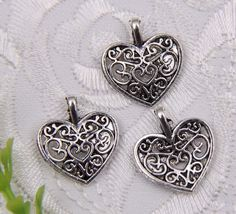 Prachtige Tibetaans zilveren hanger hartje 15 x 17 x 4mm