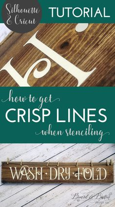Frustrated with your stenciled Cricut/Silhouette signs bleeding? Learn how to get crisp paint lines when stenciling with vinyl using my easy tried-and-true method for stencil painting signs. Get clean lines, every time! Stencils For Wood Signs, Stencil Wood, Diy Wood Signs, Stencil Diy, Stencil Painting, Painting Signs On Wood, Pallet Signs, Homemade Wood Signs, Country Wood Signs