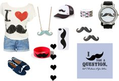 """""""I mustache you a question"""" by polariss ❤ liked on Polyvore"""