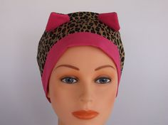 Hot Pink Cat Ears  Womens surgical scrub cap chemo hat by Headlids