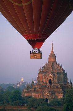 "outstandingplaces: "" Temples of Bagan, Myanmar - After years of suppression Myanmar is finally open for tourists. A fine example of Myanmar's treasures are the temples of Bagan by sunset. Places Around The World, Oh The Places You'll Go, Places To Travel, Places To Visit, Around The Worlds, Travel Destinations, Bagan, Air Balloon Rides, Hot Air Balloon"