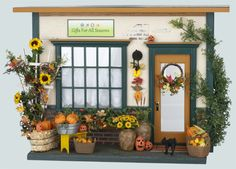 Makes you think Fall in Vermont when you see this!  Dollhouse Miniatures Fall Autumn Seasonal Gift Shop