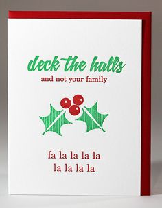 items similar to christmas clearance set of 6 funny deck the halls snarky holiday letterpress cards kiss and punch on etsy - Funny Christmas Card Sayings