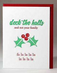 Letterpress Snarky Holiday Card by kissandpunch on Etsy, $4.95
