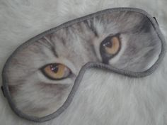 Freak Them Out Sleep Mask GRAY KITTY  by FreakyOldWoman on Etsy