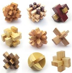 Kongming lock is a traditional Chinese intellectual toy. It is said that the toy was invented by Zhuge Kongming some years ago based on the principles of the eight-diagram metaphysics. It was wi Easy Diy Projects, Wood Projects, Woodworking Projects, Projects To Try, Wood Crafts, Diy And Crafts, Wood Joints, Puzzle Box, Wooden Puzzles