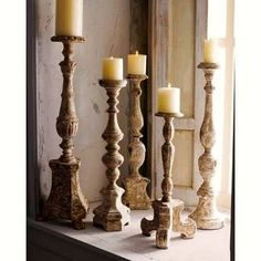 candle holders made from old staircase spindles- LOVE!– Looks like I have more … – Pillar Candles İdeas. Decor, Candle Holders, Wooden Candles, Candles, Wood Candle Sticks, Handmade Holiday, Candlesticks, Holder Design, Wooden Candle Holders