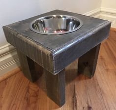 Reclaimed dog bowl stand, rustic pet feeders, dog bowl feeder, single dog bowl stand, custom sizes by Kustomwood on Etsy