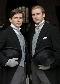 "Downton Abbey - ""'I've told you before, if we're mad enough to take on the Crawley girls, we have to stick together.'"" (Matthew Crawley to Tom Branson) LOVE, LOVE,LOVE this show! Matthew Crawley, Downton Abbey, Groomsmen Trends, Groom And Groomsmen, Groomsmen Outfits, Groom Suits, Matthew And Mary, Matthew 3, Dan Stevens"