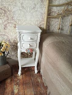 PAIR of Shabby Chic White Bedside Tables 2 Drawer Antique Country Style 72 Vintage Country, Vintage Style, Country Style, Living Room Furniture Layout, Crystal Knobs, Autumn Home, Drawers, Shabby Chic, Vintage Fashion