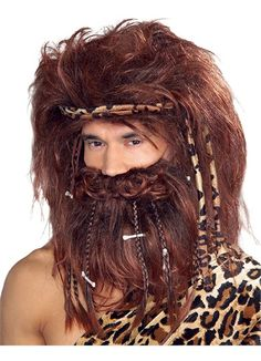 Caveman Wig/Beard Costume Accessory