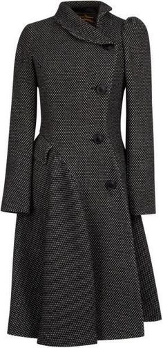 Women's Blue Navy Noble Double Breasted Wool Coat - Vivienne Westwood Anglomania Storm Coat in Black/Grey #style #coat #fashion
