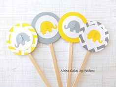 Cupcake Toppers, Yellow and Gray Elephant Baby Shower, Birthday Party, Gender Neutral Baby Shower, Set of 12 on Etsy, $12.00