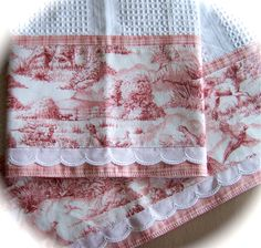 """ENGLISH TOILE"" Tea Towel/Dish Towel set of 2 -- $ 26, by Cath via Etsy."