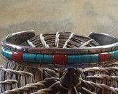 Signed Anna Begay Cornrow Sterling Silver Cuff with Turquoise & Red Coral