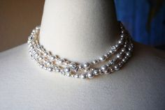 Three Strand Bridal Necklace White Pearl Necklace by BGBJewelry, $105.00