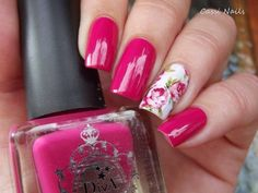 Beautiful pink nails, Bright gel polish for nails, Bright pink nails, Bright summer nails, June nails, Long nails, Nails under raspberry dress, Nails with flower print