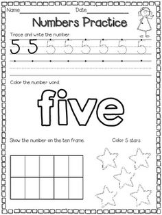Number Practice Pages for 1-10 FREE for small group/ Circle Time or a poster