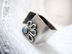 Topaz square band flower ring DAISY by ZizouArT on Etsy
