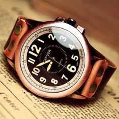 Man Watch Men's Leather Watch Vintage Retro Style by VivianGift, $19.98