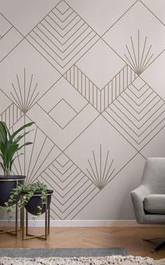Tape Wall Art, Tape Art, Diy Washi Tape Wall, Washi Tape Mural, Washi Tape Wallpaper, Masking Tape Wall, Art Deco Wall Art, Art Deco Wallpaper, Bedroom Wallpaper Modern
