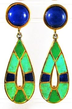 VINTAGE SIGNED HATTIE CARNEGIE EGYPTIAN REVIVAL ENAMEL ON GOLD DROP EARRINGS…
